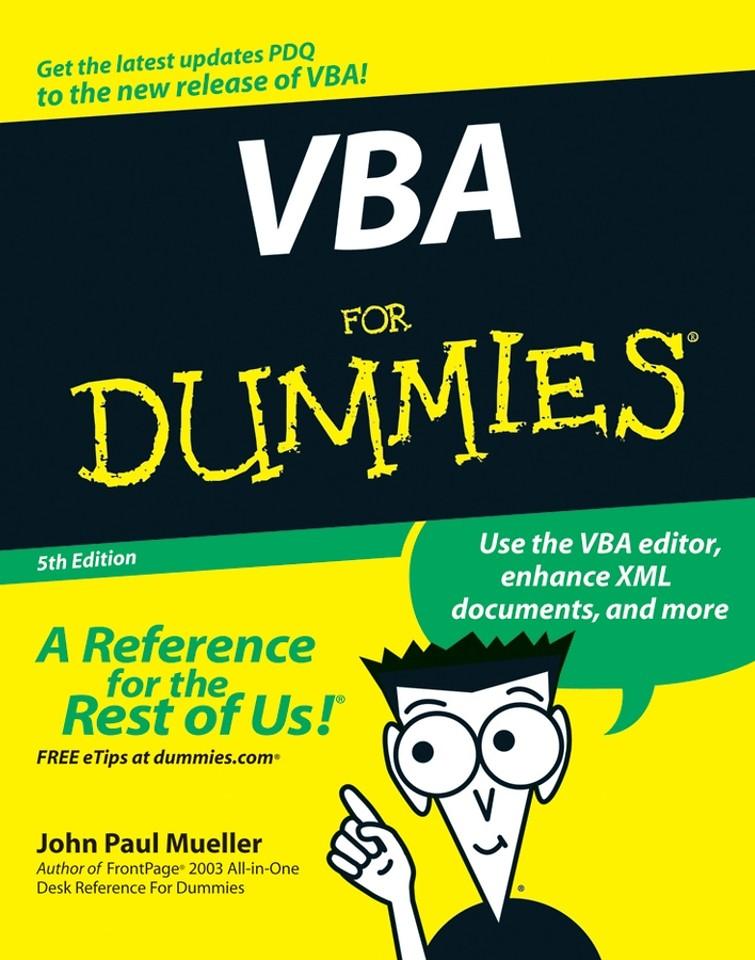 VBA for Dummies 5th edition