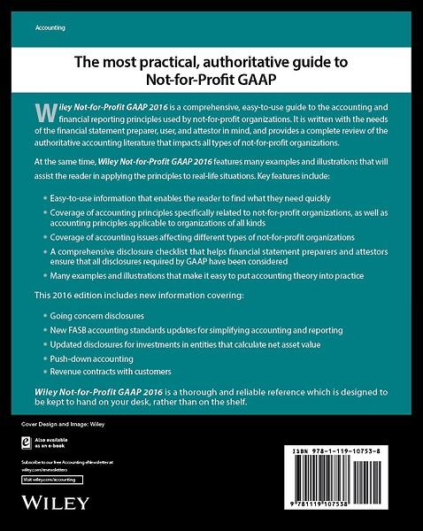 Wiley Not For Profit Gaap 2016 Door Richard F Larkin Marie