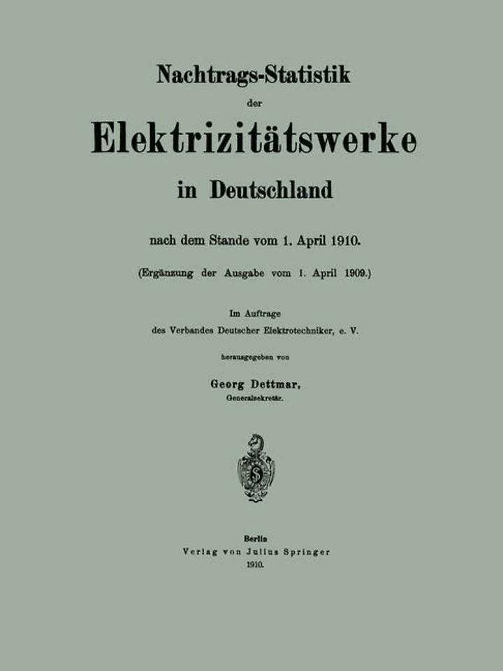 Nachtrags-Statistik der Elektrizitätswerke in Deutschland
