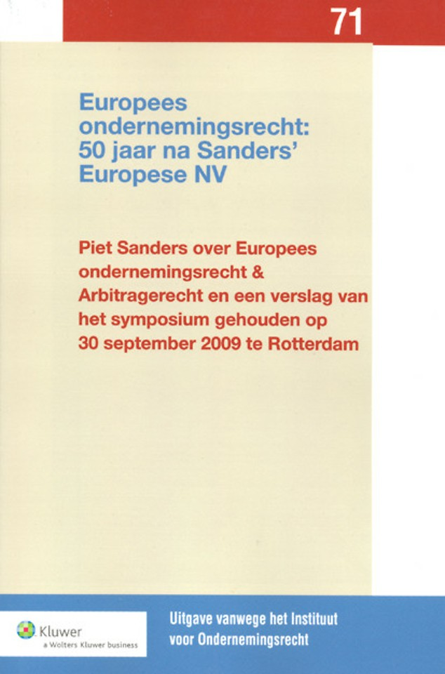 Europees ondernemingsrecht: 50 jaar na Sanders' Europese NV