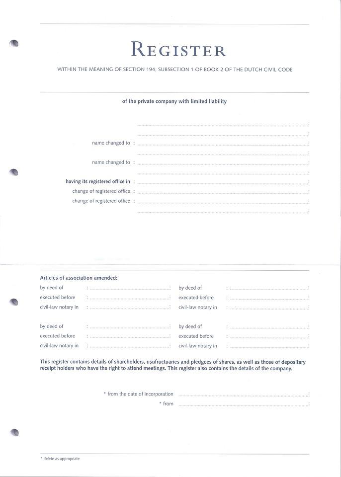 Register of the Company - losse inhoud