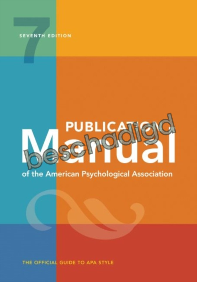 Publication Manual of the American Psychological Association 2020 (licht beschadigd)